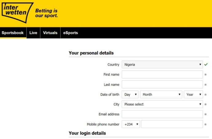 Interwetten Registration